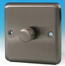 Varilight 1 Gang 1 or 2 Way 400W Push on/off Dimmer Light Switch Brushed Matt Chrome HS3